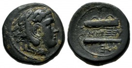 Kings Of Macedon, Alexander III 'the Great' (336-323 BC). AE (17mm, 5.79g). Uncertain mint in Macedon. Head of Herakles right, wearing lion skin / AΛΕ...
