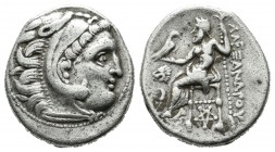 Kings of Macedon, in the name of Alexander III 'the Great'. AR Drachm (16mm, 4.23g). 'Colophon', circa 301-297 BC. Head of Herakles right wearing lion...