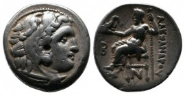 Kings of Macedon. Alexander III 'The Great' (336-323 BC). Drachm AR (17mm-4,25g). Kolophon. (Struck under Antigonos I Monophthalmos ca. 310-301 BC). H...