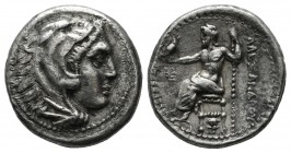 Kings Of Macedon. Alexander III 'the Great' (336-323 BC). AR Drachm (16mm, 4.08g). Sardes. Head of Herakles right, wearing lion skin / AΛΕΞΑΝΔΡΟY. Zeu...