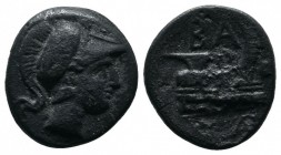 Kings of Macedon. Demetrios I Poliorketes. 306-283 BC. AE (18.00 mm-2.42 g). Uncertain mint (possibly in Caria), 306-283 BC. Head of Athena right in c...
