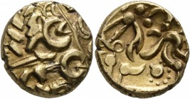 CELTIC, Britain. Corieltauvi. Uninscribed , circa 60-50 BC. Stater (Gold, 17 mm, 5.79 g, 1 h), North East Coast - Three Line (Corieltauvian B) type. D...