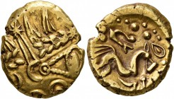 CELTIC, Northeast Gaul. Suessiones. Early 1st century BC. Stater (Gold, 18 mm, 6.10 g, 12 h), 'à l'oeil' type. Devolved laureate head of Apollo t...