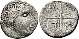 CELTIC, Central Europe. Helvetii (?). Circa 150-120 BC. Quinarius (Silver, 14 mm, 1.88 g), 'Kreuzquinar', 'Dühren' type. Male head to right, with...