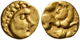 CELTIC, Central Europe. Vindelici. Late 3rd or very early 2nd century BC. 1/24 Stater (Gold, 6 mm, 0.32 g, 6 h), 'Androkephales Pferd I' type. Male he...