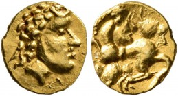 CELTIC, Central Europe. Vindelici. Late 3rd or very early 2nd century BC. 1/24 Stater (Gold, 7 mm, 0.33 g, 12 h), 'Androkephales Pferd II' type. Male ...