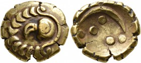 CELTIC, Central Europe. Vindelici. 2nd-1st century BC. Stater (Gold, 18 mm, 7.21 g, 12 h), 'Regenbogenschüsselchen', 'Vogelkopf' type. Head of a ...