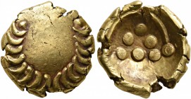 CELTIC, Central Europe. Vindelici. 1st century BC. Stater (Gold, 17 mm, 7.23 g, 12 h), 'Regenbogenschüsselchen', 'Leerer Blattkranz' type. Wreath...