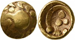 CELTIC, Central Europe. Vindelici. 1st century BC. Stater (Gold, 17 mm, 7.36 g, 6 h), 'Regenbogenschüsselchen', 'Vogelkopf' type. Head of a bird ...
