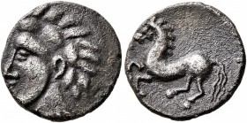CELTIC, Central Europe. Vindelici. Late 2nd to early 1st century BC. Quinarius (Silver, 13 mm, 1.81 g, 10 h), 'Prototyp' issue. Naturalistic male head...