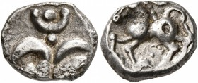 CELTIC, Central Europe. Vindelici. Mid 1st century BC. Quinarius (Silver, 12 mm, 1.77 g, 12 h), 'Büschelquinar' type. Palmette surmounted by pell...