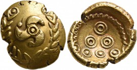CELTIC, Central Europe. Uncertain tribe. Early 1st century BC. Stater (Gold, 19 mm, 7.22 g, 10 h), 'Mardorf' type. Triskeles within a wreath formed of...