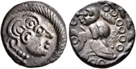 CELTIC, Central Europe. Uncertain tribe. 1st century BC. Quinarius (Silver, 13 mm, 1.13 g, 7 h), 'Nauheim' type. Male head to right, wearing two torqu...