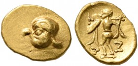 CELTIC, Central Europe. Boii. 2nd century BC. 1/24 Stater (Gold, 7 mm, 0.33 g, 3 h), earliest Athena-Alkis-series, local 'Vogelkopf' type. Head of a b...