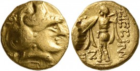 CELTIC, Central Europe. Boii. 2nd century BC. 1/3 Stater (Gold, 11 mm, 2.75 g, 12 h), early Athena-Alkis-series. Helmeted head of Athena to right. Rev...