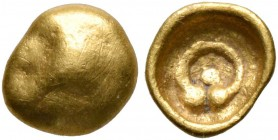 CELTIC, Central Europe. Boii. 2nd century BC. 1/24 Stater (Gold, 6 mm, 0.23 g). Bulge with uncertain devices (facing head of an animal?). Rev. Torques...