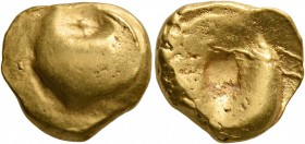 CELTIC, Central Europe. Boii. Late 2nd-early 1st century BC. Stater (Gold, 15 mm, 7.43 g), 'Muschelstater' type. Large bulge with pellet at edge. Rev....