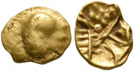 CELTIC, Central Europe. Boii. 1st century BC. 1/24 Stater (Gold, 7 mm, 0.33 g), latest Athena-Alkis-series. Flat irregular bulge. Rev. Irregular desig...