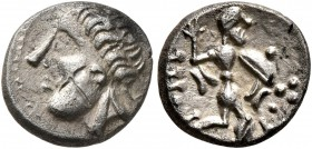 CELTIC, Central Europe. Noricum (East). 1st century BC. Obol (Silver, 10 mm, 1.02 g, 9 h). Male head to left, the strands of hair upwards like flames ...