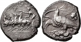 SICILY. Akragas. Circa 409-406 BC. Tetradrachm (Silver, 25 mm, 16.67 g, 4 h). AKPAΓANTIΩN Nike driving quadriga galloping to left, holding the reins o...