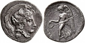 SICILY. Kamarina. Circa 405 BC. Litra (Silver, 12 mm, 0.72 g, 11 h). Head of Athena to right, wearing crested Attic helmet decorated with a hippocamp....