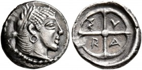 SICILY. Syracuse. Deinomenid Tyranny , 485-466 BC. Litra (Silver, 10 mm, 0.65 g, 12 h), circa 470. Laureate head of Arethusa to right, wearing round e...