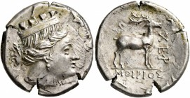 TAURIC CHERSONESOS. Chersonesos. Circa 110-90 BC. Drachm (Subaeratus, 19 mm, 4.17 g, 1 h), Moirios, magistrate. Turreted head of Artemis to right, bow...