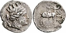 TAURIC CHERSONESOS. Chersonesos. Circa 110-90 BC. Drachm (Subaeratus, 18 mm, 3.14 g, 12 h), Apollonida..., magistrate. Turreted head of Artemis to rig...