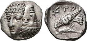 MOESIA. Istros. Late 5th century BC. Drachm (Silver, 19 mm, 6.68 g, 12 h). Two facing male heads side by side, one upright and the other inverted. Rev...
