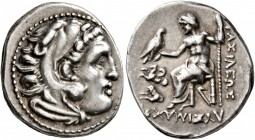 KINGS OF THRACE. Lysimachos, 305-281 BC. Drachm (Silver, 18 mm, 4.26 g, 1 h), in the types of Alexander III, Lampsakos, circa 299/8-297/6. Head of Her...