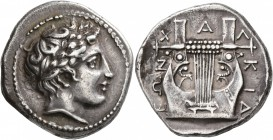 MACEDON, Chalkidian League. Circa 383/2 BC. Tetradrachm (Silver, 27 mm, 14.34 g, 9 h), Olynthos. Laureate head of Apollo to right. Rev. XAΛ-KIΔ-EΩN Ki...