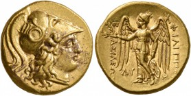 KINGS OF MACEDON. Philip III Arrhidaios, 323-317 BC. Stater (Gold, 18 mm, 8.58 g, 3 h), Babylon, struck under Archon, Dokimos, or Seleukos I. Head of ...
