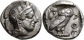 ATTICA. Athens. Circa 430s BC. Tetradrachm (Silver, 24 mm, 17.15 g, 11 h). Head of Athena to right, wearing crested Attic helmet decorated with three ...