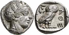 ATTICA. Athens. Circa 430s-420s BC. Tetradrachm (Silver, 24 mm, 17.19 g, 11 h). Head of Athena to right, wearing crested Attic helmet decorated with t...