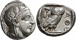 ATTICA. Athens. Circa 430s-420s BC. Tetradrachm (Silver, 25 mm, 17.20 g, 10 h). Head of Athena to right, wearing crested Attic helmet decorated with t...