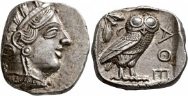ATTICA. Athens. Circa 430s-420s BC. Tetradrachm (Silver, 24 mm, 17.19 g, 9 h). Head of Athena to right, wearing crested Attic helmet decorated with th...