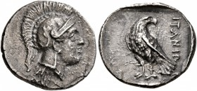 CRETE. Itanos. Circa 320-270 BC. Hemidrachm (Silver, 16 mm, 2.62 g, 6 h). Head of Athena to right, wearing crested Attic helmet dcorated with two oliv...