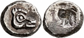 CYCLADES, Kythnos. Circa 530/20-500 BC. Drachm (Silver, 15 mm, 4.03 g). Head of a boar to right. Rev. Irregular incuse punch. Kyrou & Artemis pl. ...