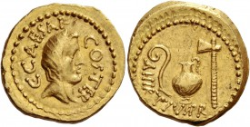 C. Iulius Caesar and A. Hirtius. Aureus 46, AV 7.30 g. C CAESAR – COS TER Veiled head of Vesta r. Rev. A·HIRTIVS·P·R Lituus, jug and axe. Babelon Juli...