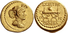 L. Cestius and C. Norbanus. Aureus circa 43 BC, AV 8.04 g. Draped bust of Africa r., wearing elephant-skin headdress. Rev. L·CESTIVS / S C – PR Curule...