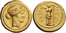 C. Vibius Varus. Aureus 42, AV 7.61 g. Laureate head of Apollo r. Rev. C·VIBIVS – VARVS Venus standing l., looking at herself in mirror held in l. han...