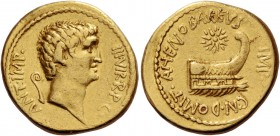 Marcus Antonius with Cn. Domitius Ahenobarbus. Aureus, mint moving with M. Antonius (Corcyra ?) Summer 40, AV 7.88 g. ANT·IMP· – III·VIR·R·P·C Bare he...