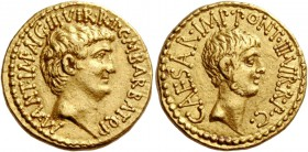 Marcus Antonius and C. Caesar Octavianus with M. Barbatius. Aureus, mint moving with M. Antonius 41, AV 8.01 g. M·ANT·IMP·AVG·III·VIR·R·P·C·M·BARBAT·Q...