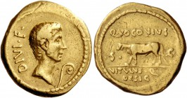 Ti. Voconius Vitulus. Aureus 40 (?) or later, AV 7.99 g. DIVI·F. Head of Octavian r., slightly bearded; before, lituus. Rev. Q·VOCONIVS / S – C Calf w...