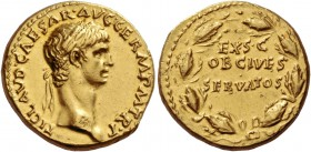 Claudius, 41 – 54. Aureus 41-42, AV 7.72 g. TI·CLAVD·CAESAR·AVG·GERM·P M·TR·P Laureate head r. Rev. EX·S·C / OB CIVES / SERVATOS within oak wreath. C ...