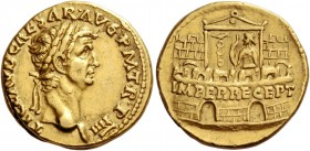 Claudius, 41 – 54. Aureus 45, AV 7.77 g. TI CLAVD CAESAR·AVG P M T·R·P IIII Laureate head r. Rev. IMPER RECEPT inscribed on praetorian camp, at the do...