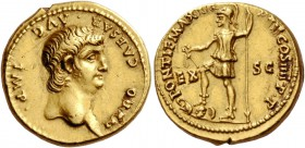 Nero, 54 – 68. Aureus 60-61, AV 7.69 g. NERO CAESAR·AVG IMP Bare head r. Rev. PONTIF MAX TR – P VII COS IIII P·P Virtus, helmeted and in military atti...
