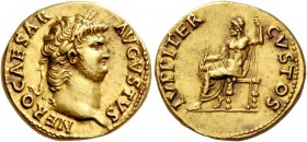 Nero, 54 – 68. Aureus 64-65, AV 7.28 g. NERO CAESAR – AVGVSTVS Laureate head r. Rev. IVPPITER – CVSTOS Jupiter seated l. on throne, holding thunderbol...