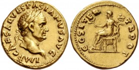 Vespasian, 69 – 79. Aureus circa 69-70, AV 7.32 g. IMP CAESAR VESPASIANVS AVG Laureate head r. Rev. COS ITER – TR POT Pax seated l., holding branch an...
