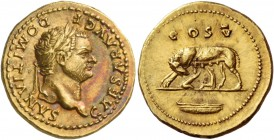 Domitian caesar, 69 – 81. Aureus 77-78, AV 7.35 g. CAESAR AVG F – DOMITIANVS Laureate head r. Rev. COS V She-wolf l., with twins; in exergue, boat. C ...